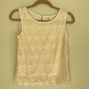 Madewell XS Lace, Lined Cream Tank, Good Condition
